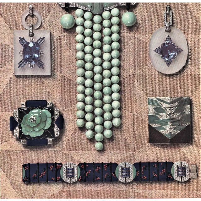 Art Deco Matted Iconic French Art Deco Jewelry Lithograph For Sale - Image 3 of 5