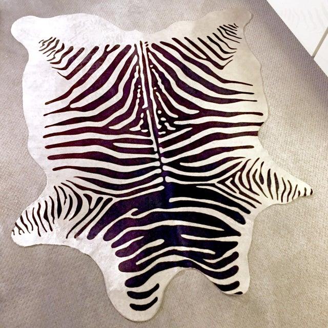 Zebra Stenciled Black Ivory Hide Rug - 6'10 X 5'7 - Image 3 of 9
