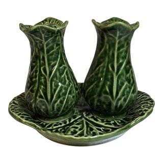 1980s Cottage Dark Green Ceramic Majolica Cabbage Salt and Pepper Shaker Set - 3 Piece Set
