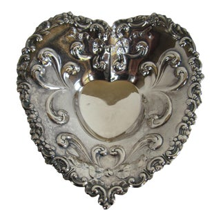 Small Silver-Plate Heart Trinket Dish For Sale