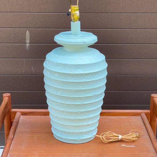 1980s Alsy Light Blue Plaster Table Lamp For Sale - Image 4 of 13