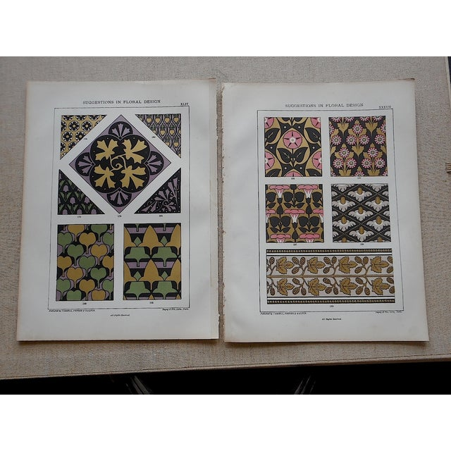 Pair of antique folio size ornamental design motif chromolithographs (each color was laid in with a separate lithographic...