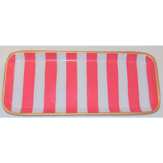 Dana Gibson Melon and White Striped Trinket Tray For Sale - Image 13 of 13