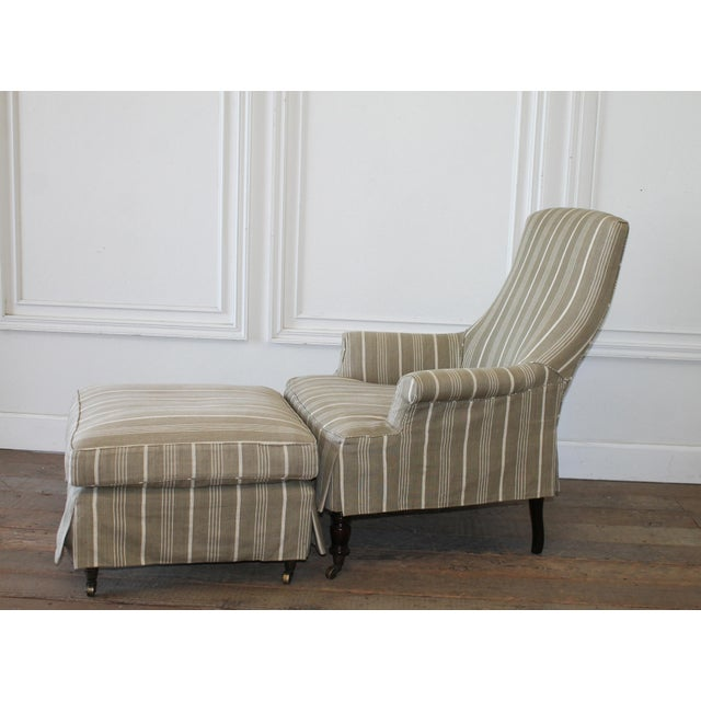 French Napoleon Style Linen Stripe Slip Cover Chair and Ottoman For Sale - Image 3 of 12
