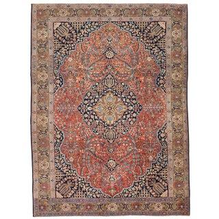 Antique Persian Tabriz Rug in Black & Red Floral Patterns on Beige Center Field For Sale