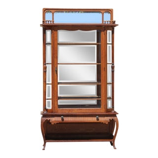 Early 1900's Oak Display Cabinet For Sale