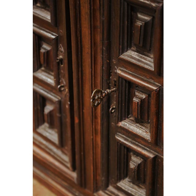 17th Century Spanish Catalan Carved Walnut Two-Door Buffet Cabinet For Sale - Image 10 of 13