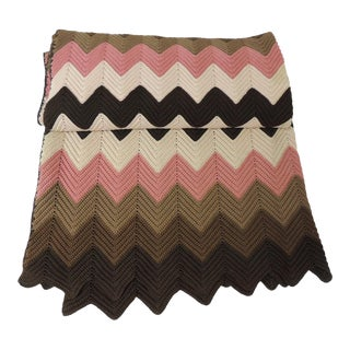 Vintage Pink and Brown Handwoven Crochet Macrame Throw For Sale