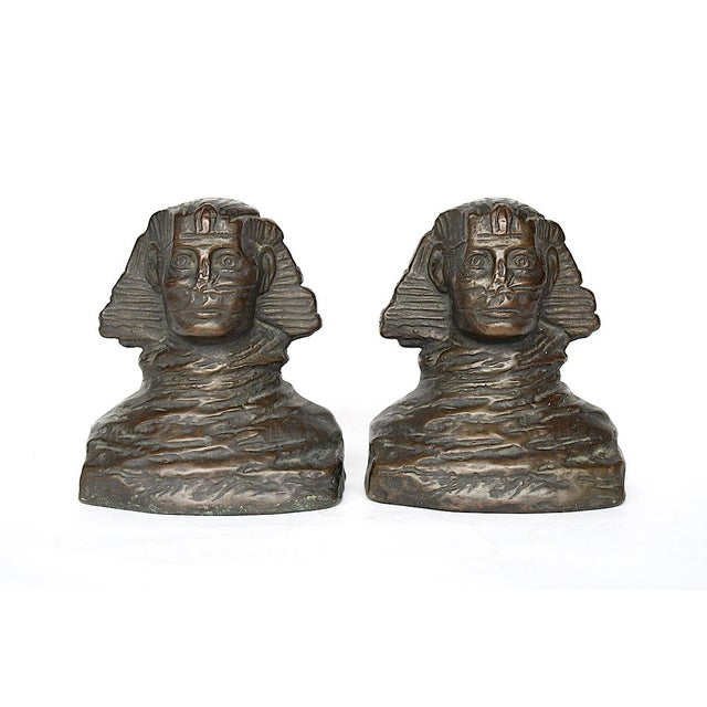 Bronze 1920s art Deco Armor Bronze Sphinx Bookends - a Pair For Sale - Image 7 of 7
