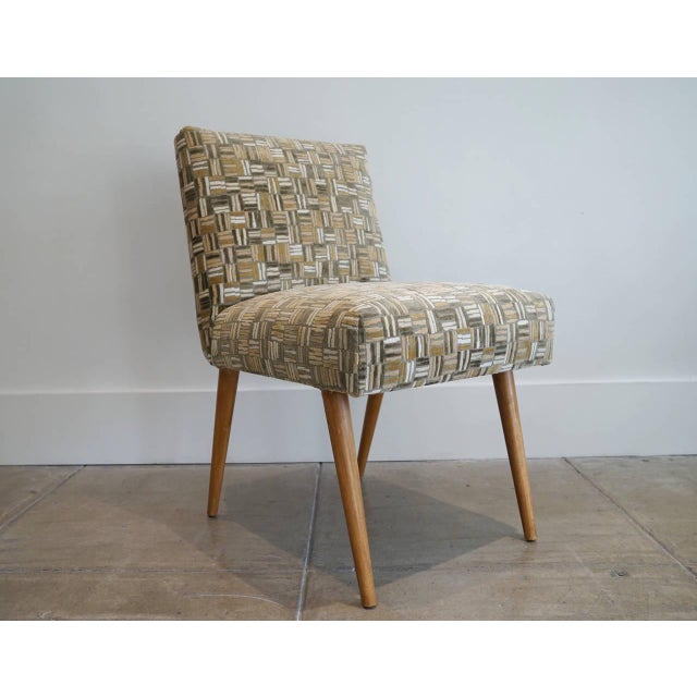 TH Robsjohn Gibbings Desk Chair T.H. Robsjohn-Gibbings desk chair for Widdicomb. Newly upholstered in Lee Jofa, wood cut...