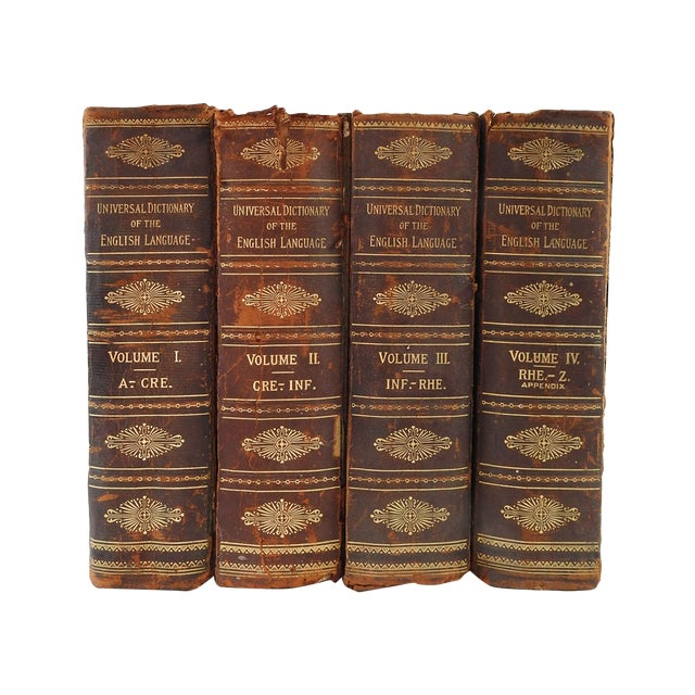 Distressed Leather Dictionaries 1897 - S/4 - Image 1 of 6