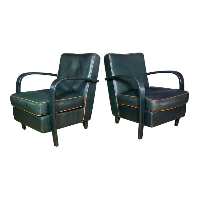 Pair Baxter Italia Green Leather Armchairs, 1990 For Sale