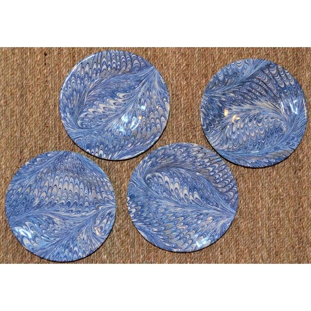 Blue Delft Blue Firenze Marbleized Ceramic Cocktail Plates - Set of 4 For Sale - Image 8 of 10