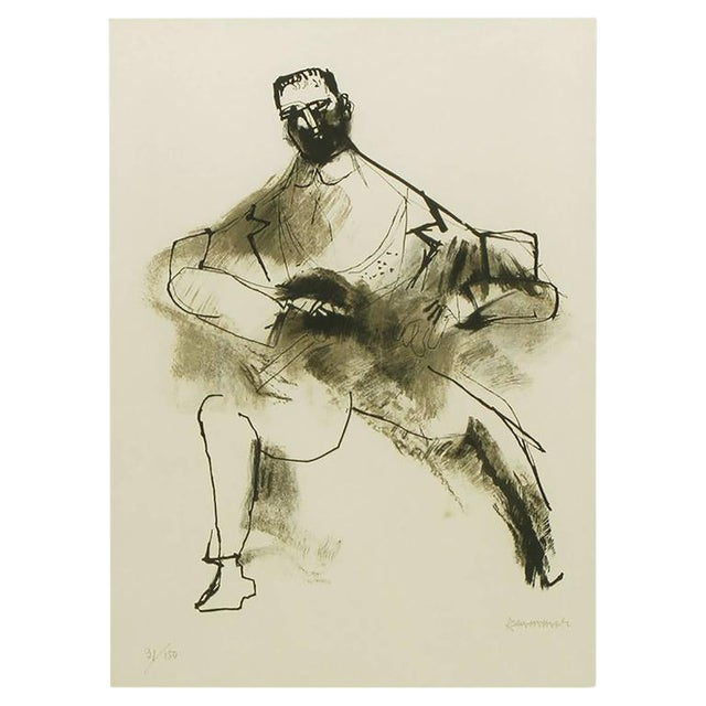 Abraham Rattner (1893-1978) Black and White Limited Edition Print, Signed and Numbered For Sale