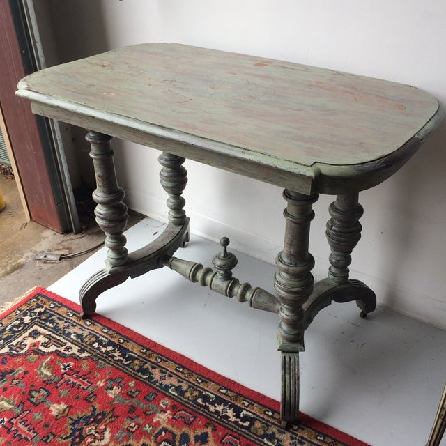 Cottage Shabby Chic Gray Breakfast Table For Sale - Image 3 of 8