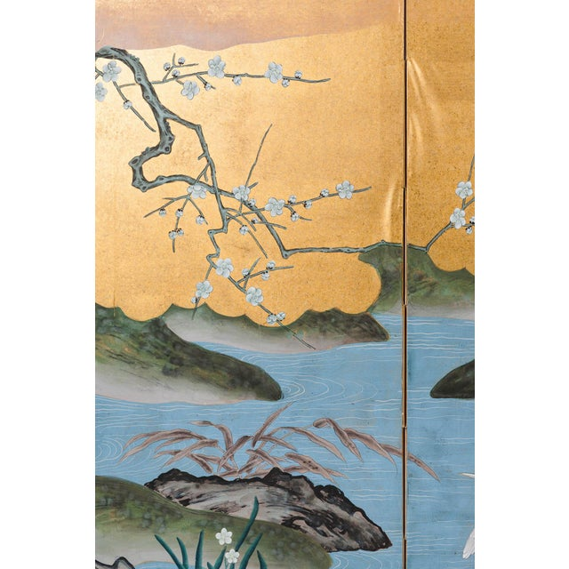 """Gold Sung Tze-Chin Chinoiserie Hanging Screen Ink on Gold Foil """"Red-Crowned Cranes at the River"""" For Sale - Image 8 of 12"""