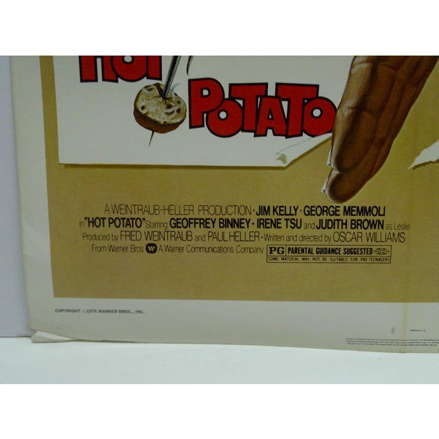 """1976 Original """"Hot Potato"""" & """"Enter the Dragon"""" Warner Brothers Movie Poster For Sale - Image 4 of 6"""