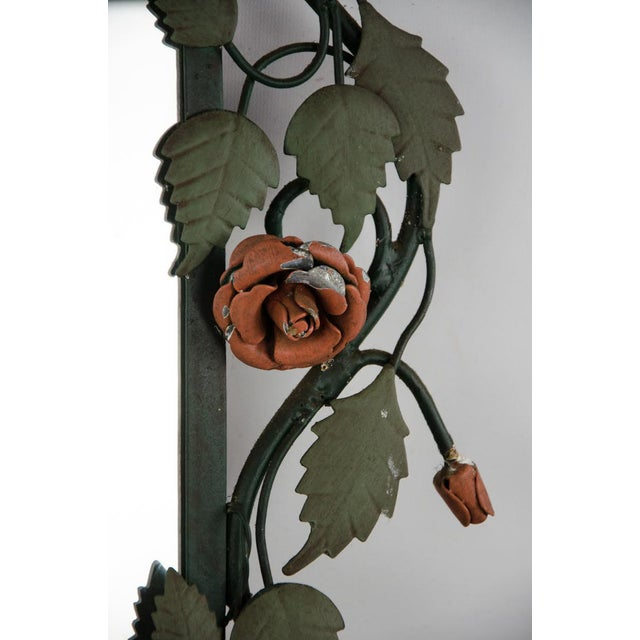 Metal Mid-century Italian Toleware Rose Wall Mirror For Sale - Image 7 of 13