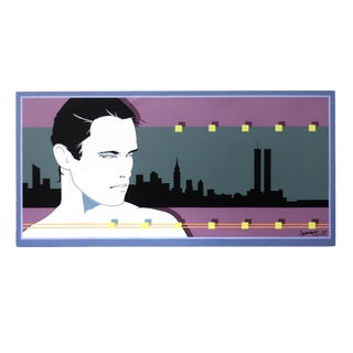 Nyc Skyline Painting in the Manner of Patrick Nagel (1997) For Sale