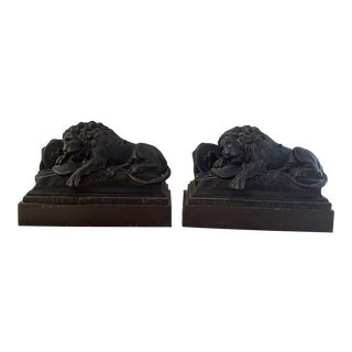 Antique French Lion Bronze Bookends- a Pair For Sale