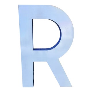 "Large Vintage Blue & White Enamel ""R"" Building Signage For Sale"