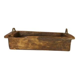 1940s Rustic Wood Trough/Bowl With Double Handles