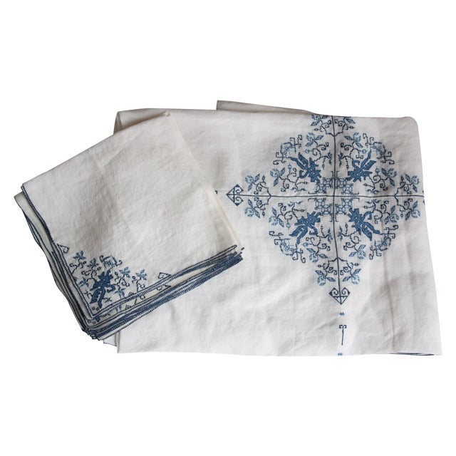 Hand-Embroidered Linen Tablecloth & Napkins - 9 - Image 1 of 5