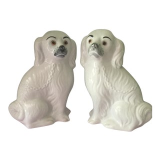 17th Century Regency White Porcelain Staffordshire Dogs - a Pair