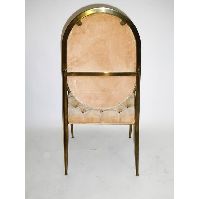 1960s 1960s Vintage Mastercraft Brass Tufted Velvet Dining Chairs - Set of 6 For Sale - Image 5 of 13