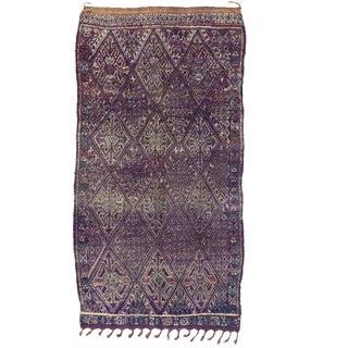 Late 20th Century Purple Beni M'Guild Moroccan Rug - 5′10″ × 11′2″ For Sale
