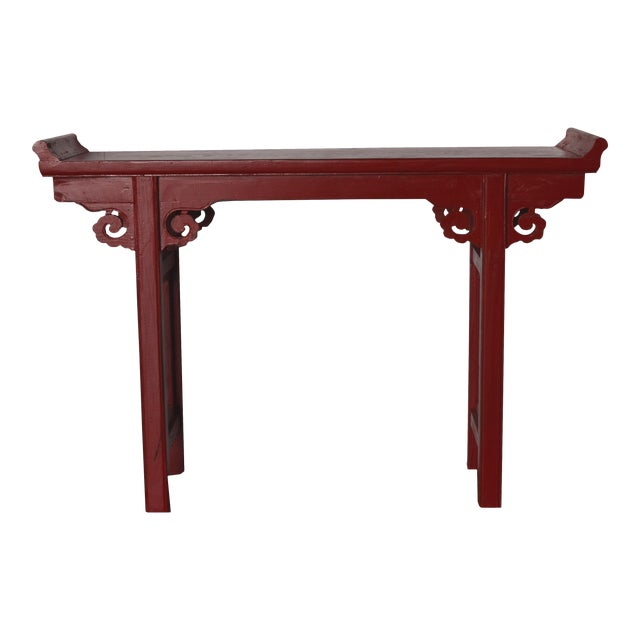 Red Lacquer Chinese Alter Table For Sale