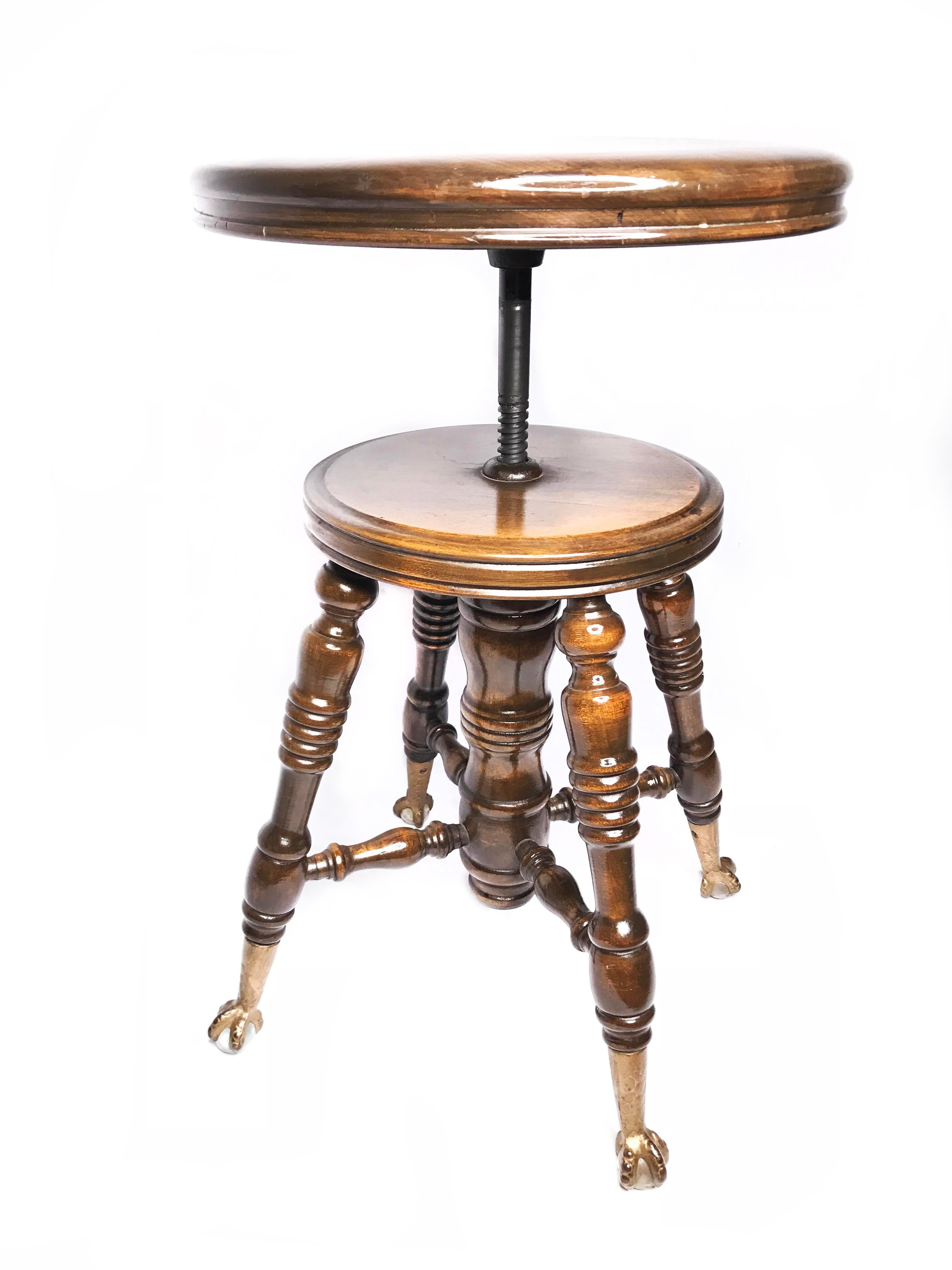 Art Deco 19th Century Art Deco Adjustable Oak Piano Stool With Claw Feet  For Sale