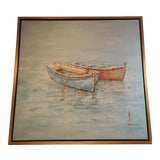 Image of Nautical Signed Gold Framed Boat Painting For Sale