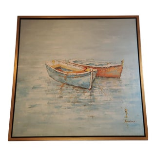 Nautical Signed Gold Framed Boat Painting For Sale