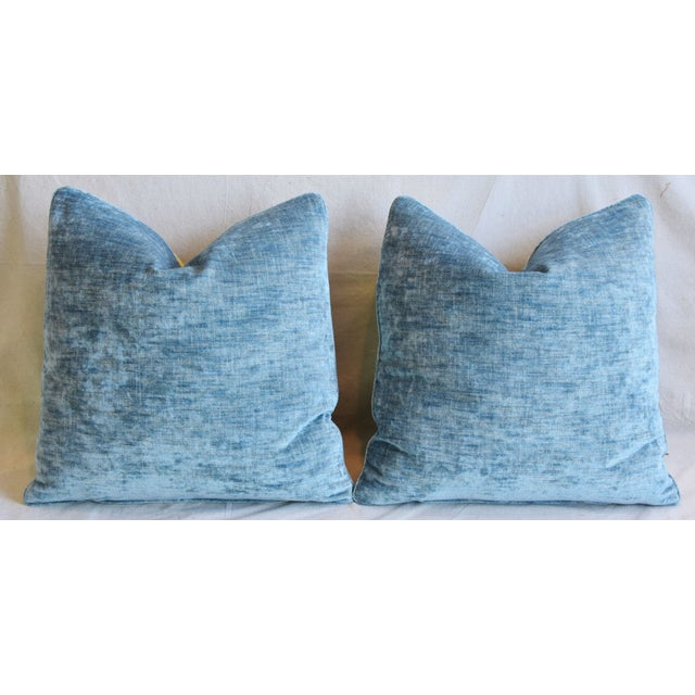 """Designer Blue & Yellow Bird and Butterflies Feather/Down Pillows 21"""" Square - Pair For Sale - Image 11 of 13"""