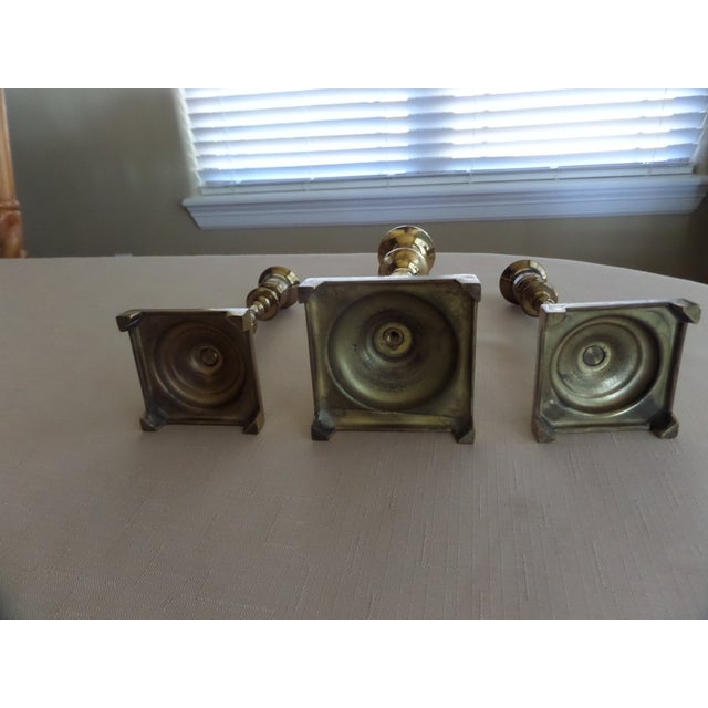 Brass Vintage Solid Brass Candlestick Holders With a Footed Base - Set of 3 For Sale - Image 7 of 11