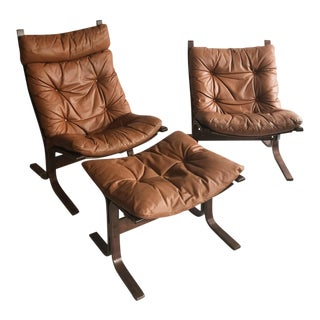 Ingmar Relling for Westnofa His & Her's Siesta Chairs & Ottoman - Set of 3