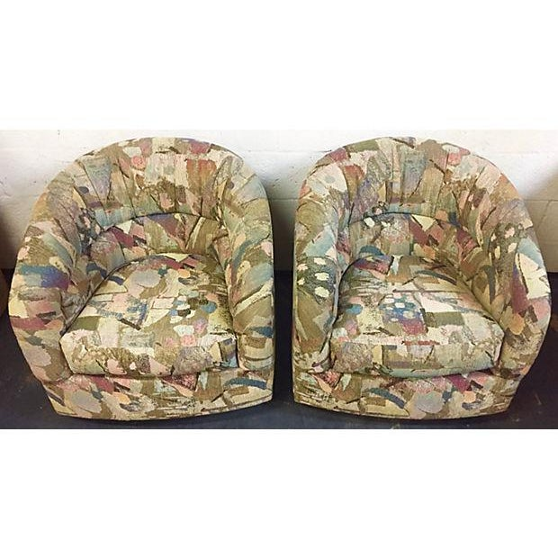 Pair Abstract Pattern Swivel Chairs - Image 3 of 6