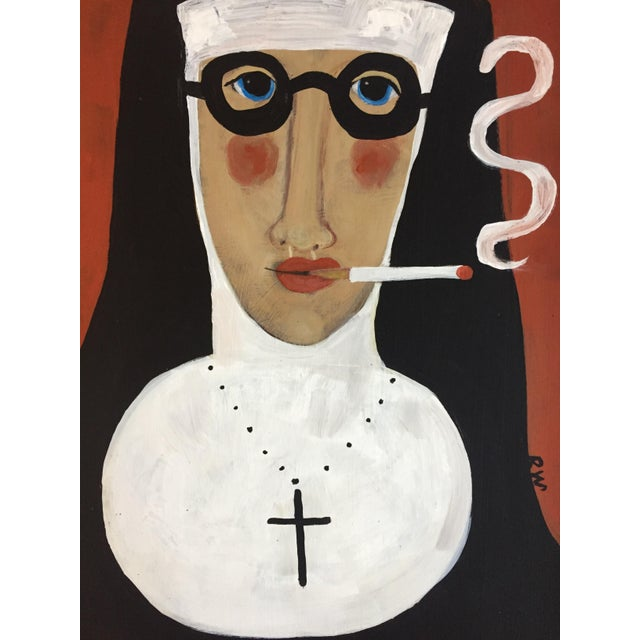 "Rose Walton ""Smoking Nun"" Original Painting - Image 4 of 5"