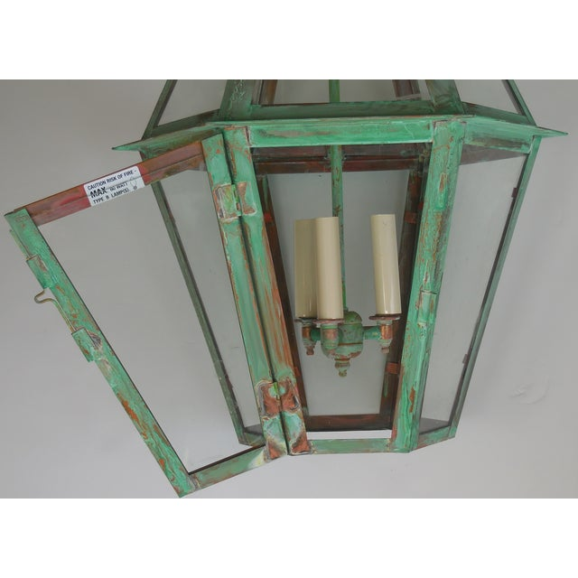 Hexagon Shabby Chic Hanging Copper Lantern - Image 5 of 11