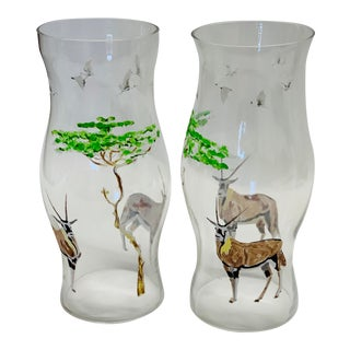 Hand Painted African Antelope Glass Candle Hurricanes - a Pair For Sale