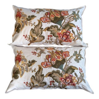Mediterranean Handmade Crewel Pillows - a Pair For Sale