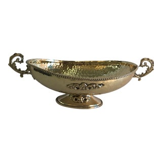 20th Century Hollywood Regency Polished Hammered Brass Bowl For Sale
