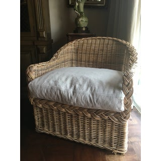 Classic East Coast Wicker Lounge Chair in Natural Finish & Linen-Cotton Cushion Preview