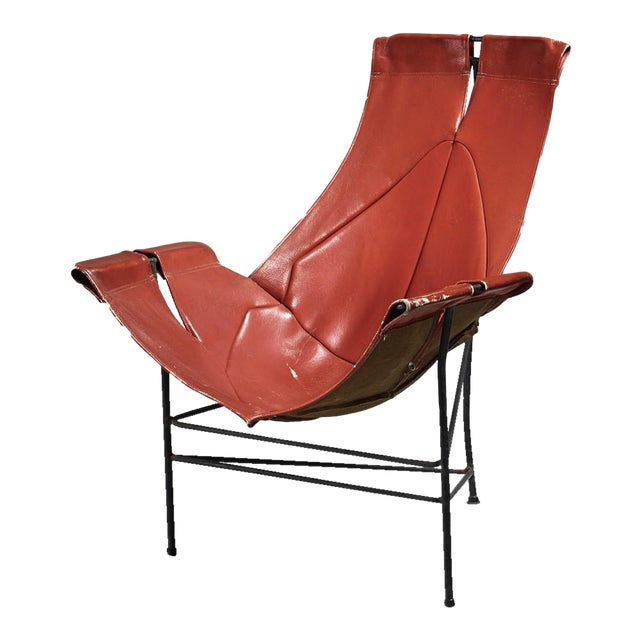 Leathercrafter Sling Chair in Brown Leather on Tri-Leg Base, USA, 1960s For Sale