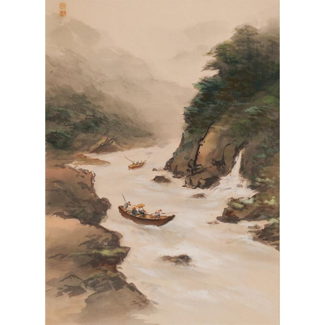 C. 1920-1940s Japanese Four Landscapes Byobu Screen For Sale In Dallas - Image 6 of 13