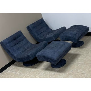 Roche Bobois Leather Swivel Lounge Chair and Ottoman-Set of 4 Preview