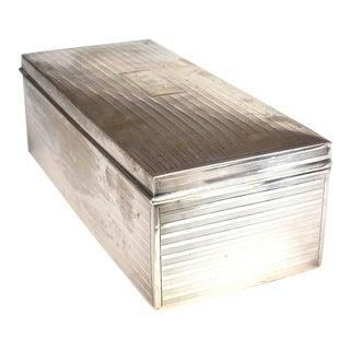 English Mid-Century Silver Cigarette Box For Sale
