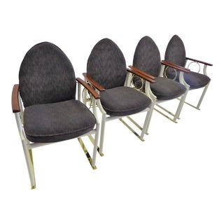 1980s Vintage Danish Memphis Goth Sled Dining Chairs- Set of 4 For Sale