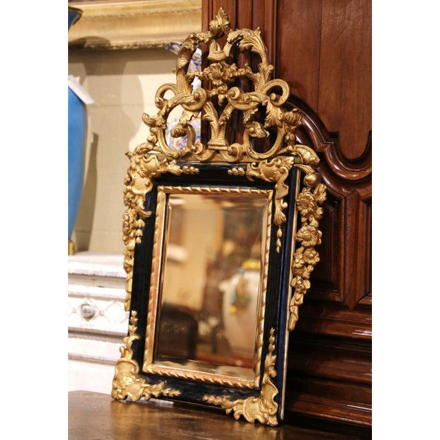 Wood 18th Century French Louis XV Carved Giltwood and Blackened Mirror From Provence For Sale - Image 7 of 13